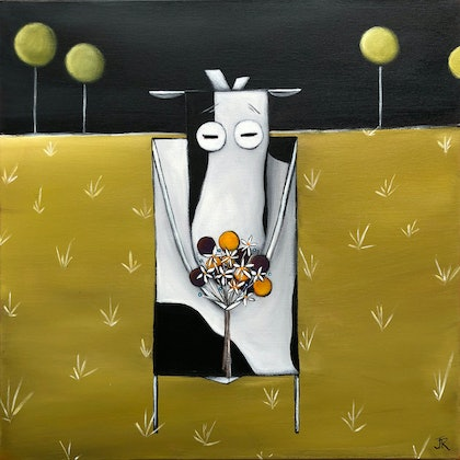 (CreativeWork) Cow With Flowers #2 by Julie Robertson. arcylic-painting. Shop online at Bluethumb.