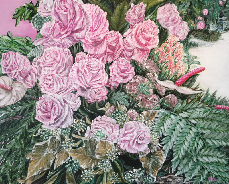 (CreativeWork) A LIFE TIME COMMITMENT - Pink Roses And Anthurium - LIMITED EDITION GICLEE PRINT  Ed. 1 of 100 by HSIN LIN. print. Shop online at Bluethumb.