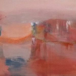 (CreativeWork) Atmospheric Landcape in Sunset by Alison Duke. acrylic-painting. Shop online at Bluethumb.