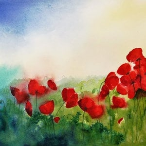 (CreativeWork) Poppy Field by Lucinda Leveille. watercolour. Shop online at Bluethumb.