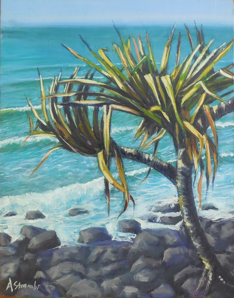(CreativeWork) Pandanus Study by Anne Strambi. oil-painting. Shop online at Bluethumb.