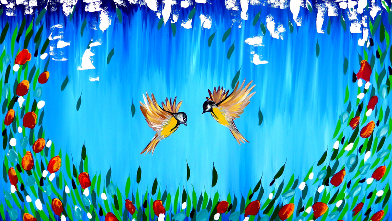 (CreativeWork) Birds and flowers by Mark Humphries. acrylic-painting. Shop online at Bluethumb.