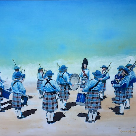 (CreativeWork) The Pipe Band by Ross Morgan. Oil Paint. Shop online at Bluethumb.