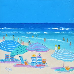 (CreativeWork) Seaside Days - Shadow box FRAME 43cm square by Jan Matson. oil-painting. Shop online at Bluethumb.