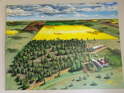 (CreativeWork) Brambly farm by Krysten Taprell. arcylic-painting. Shop online at Bluethumb.