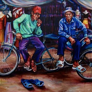 (CreativeWork) Cyclo by Gavin Brown. oil-painting. Shop online at Bluethumb.
