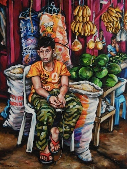 (CreativeWork) Market Boy by Gavin Brown. oil-painting. Shop online at Bluethumb.