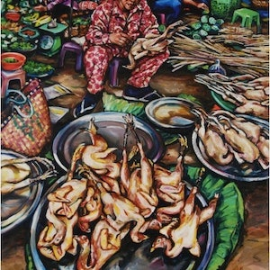 (CreativeWork) Chicken Lady by Gavin Brown. oil-painting. Shop online at Bluethumb.