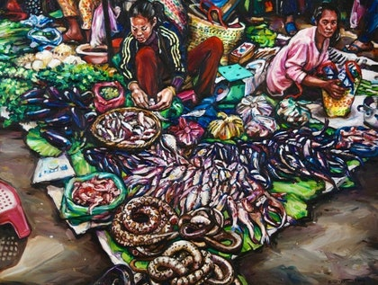 (CreativeWork) Snake sellers by Gavin Brown. oil-painting. Shop online at Bluethumb.