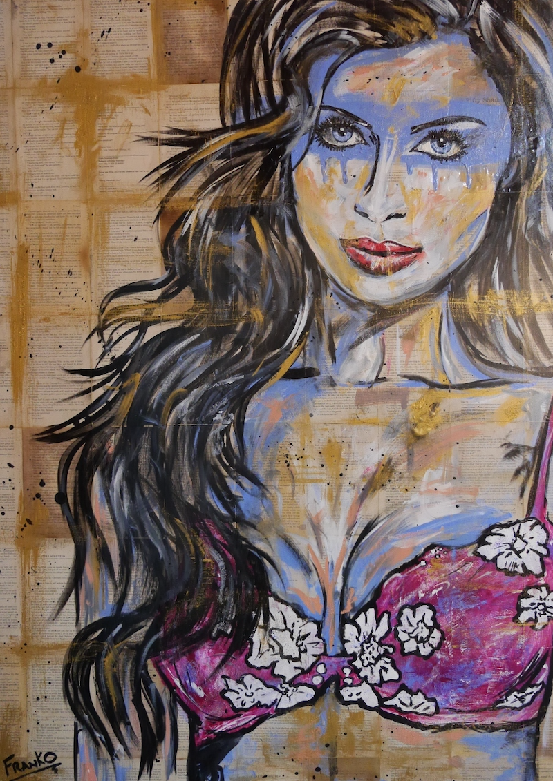 (CreativeWork) Baby Blue 140cm x 100cm (on a VINTAGE 1956 copy of Maids & Mistresses)  # no further framing needed womans face glue lingerie  semi nude by _Franko _. mixed-media. Shop online at Bluethumb.