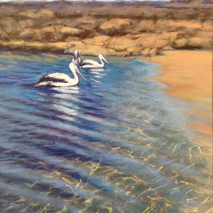 (CreativeWork) In the Lagoon by Anne Strambi. oil-painting. Shop online at Bluethumb.