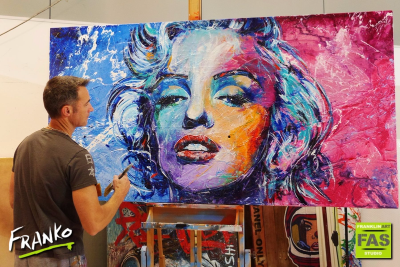 (CreativeWork) Marilyn Blu 190cm x 100cm #textured acrylics gloss finish by _Franko _. arcylic-painting. Shop online at Bluethumb.