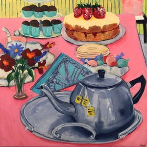 (CreativeWork) Afternoon Tea by Amanda Hunt. arcylic-painting. Shop online at Bluethumb.