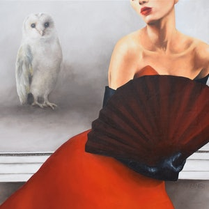 (CreativeWork) And The Owl Wished Everything Was White by Trisha Lambi. oil-painting. Shop online at Bluethumb.