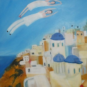 (CreativeWork) Arrival at Santorini by Margaret Burgess. arcylic-painting. Shop online at Bluethumb.