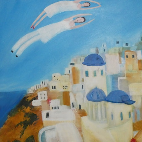 (CreativeWork) Arrival at Santorini by Margaret Burgess. Acrylic Paint. Shop online at Bluethumb.