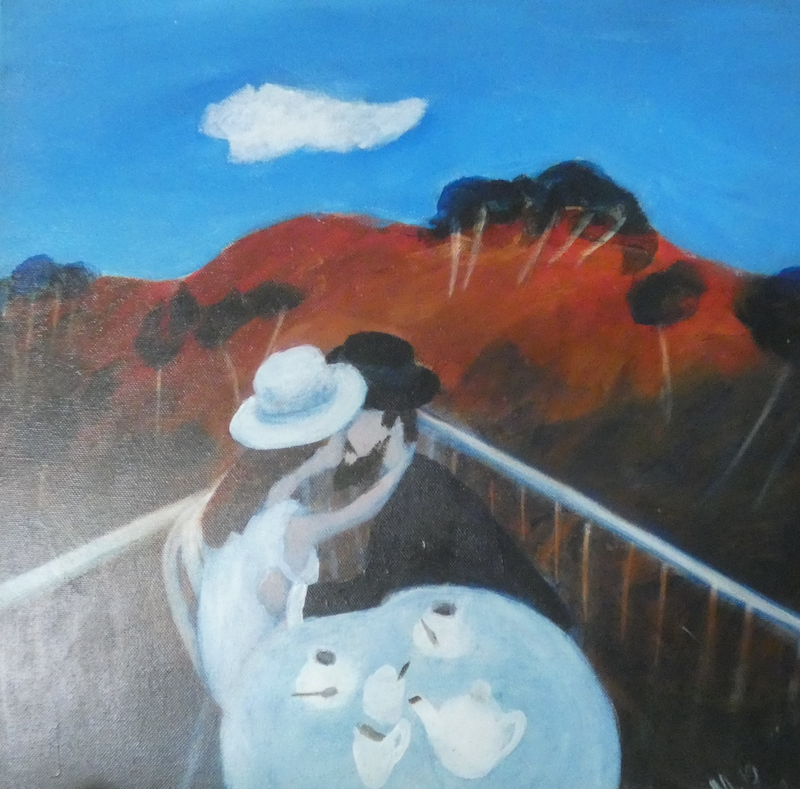 (CreativeWork) The Engagement by Margaret Burgess. arcylic-painting. Shop online at Bluethumb.