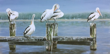 (CreativeWork) PELICAN BRIEFING by Treena Seymour. mixed-media. Shop online at Bluethumb.
