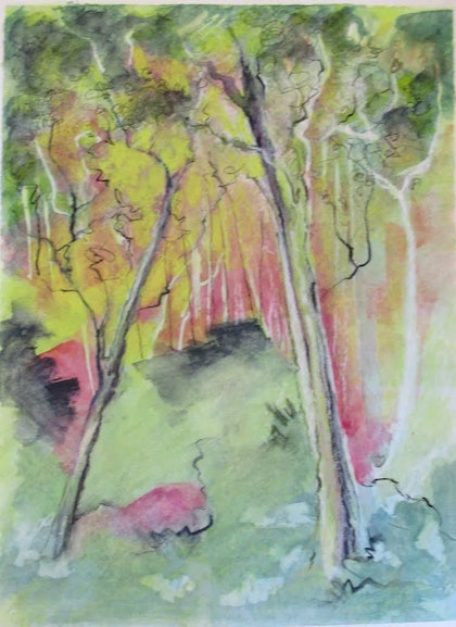 (CreativeWork) Sunset -The Old North Road   by Janelle White. watercolour. Shop online at Bluethumb.