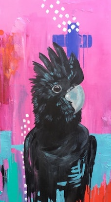(CreativeWork) The Black Cockatoo in Abstract by Emma Wreyford. Acrylic Paint. Shop online at Bluethumb.