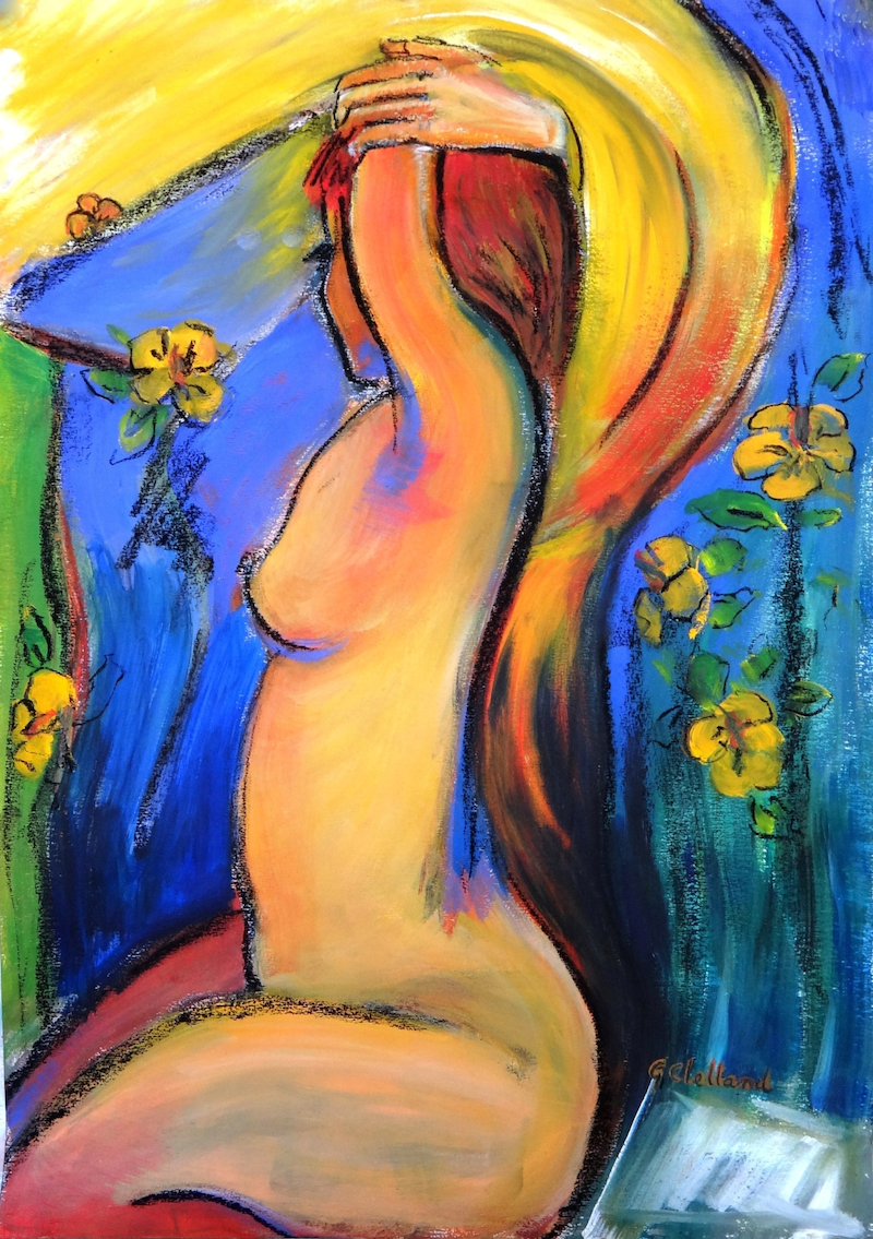 (CreativeWork) Sunshine & flowers  by Glenise Clelland. mixed-media. Shop online at Bluethumb.