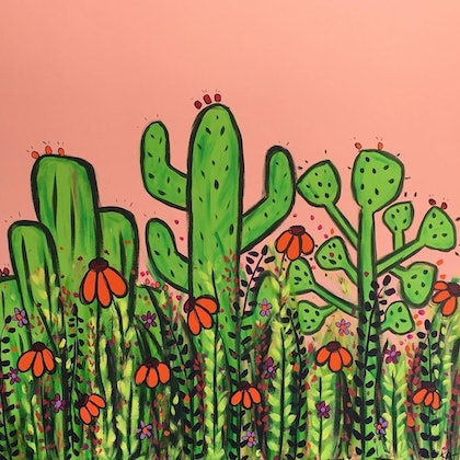 (CreativeWork) Prickles and Pretties by Katherine Charlton. arcylic-painting. Shop online at Bluethumb.