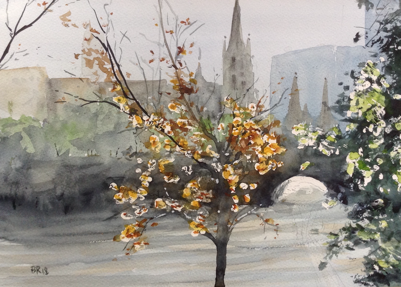 (CreativeWork) Misty Melbourne by Bernd Rieve. watercolour. Shop online at Bluethumb.