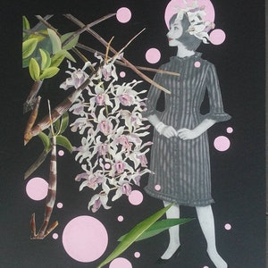 (CreativeWork) 'Orchid Series 2 - #1' by Karen Coull. mixed-media. Shop online at Bluethumb.