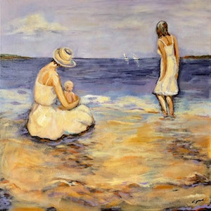 "(CreativeWork) ""First Dip"" by Lorna Gerard. acrylic-painting. Shop online at Bluethumb."