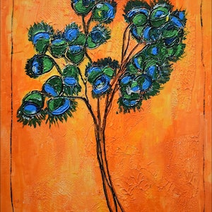 (CreativeWork) Flowers 1 by Rolo Allemand. arcylic-painting. Shop online at Bluethumb.