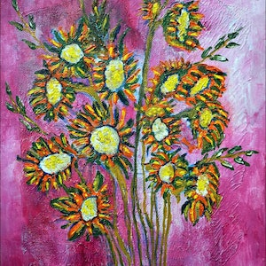 (CreativeWork) Flowers 3 by Rolo Allemand. arcylic-painting. Shop online at Bluethumb.
