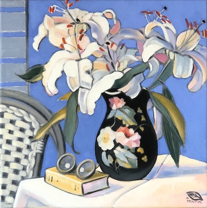 (CreativeWork) White lillies on blue with french jug (framed) by kirsty mcintyre. oil-painting. Shop online at Bluethumb.