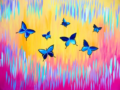 (CreativeWork) Blue Butterflies with Bright Abstract Painting by Cathy Snow. arcylic-painting. Shop online at Bluethumb.