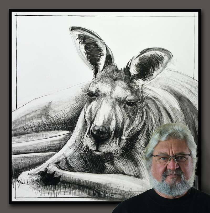 (CreativeWork) Portrait of Kangaroo No. 25 by Michael Chorney. drawing. Shop online at Bluethumb.