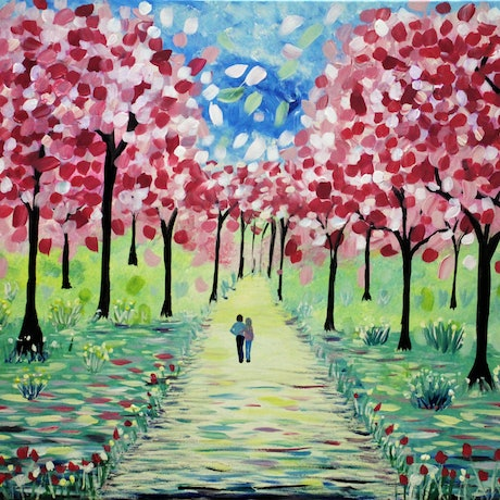 (CreativeWork) Love Blossoms by Wendy Hocking. Acrylic Paint. Shop online at Bluethumb.
