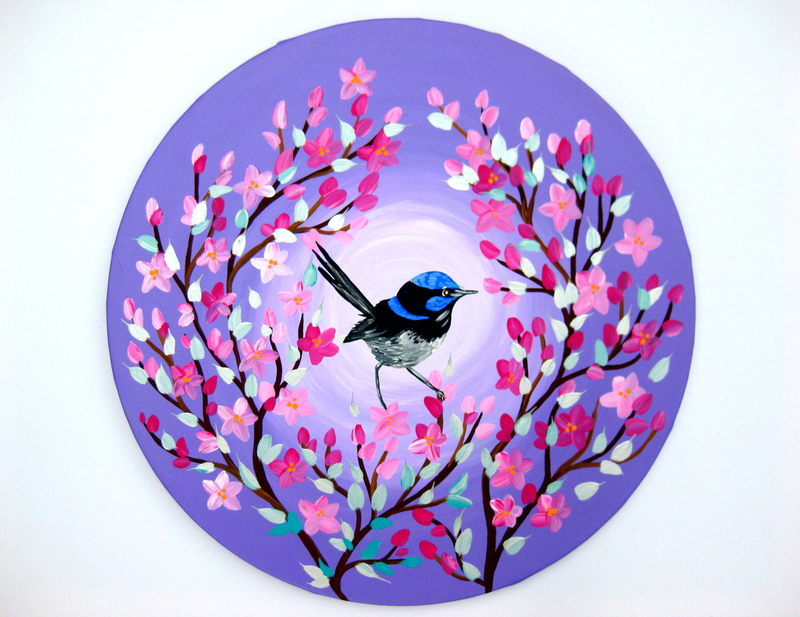 (CreativeWork) Fairy wren by Cathy Jacobs. arcylic-painting. Shop online at Bluethumb.