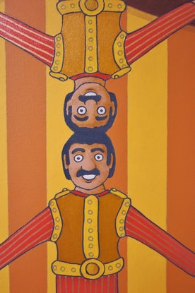 (CreativeWork) The Amazing Balancing Tosely Brothers by BRETT ROSE. Acrylic Paint. Shop online at Bluethumb.