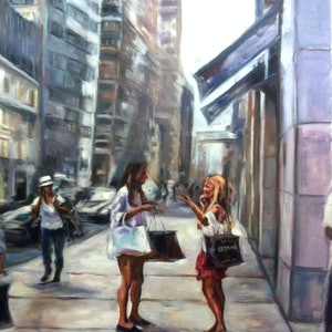 (CreativeWork) NEW YORK SHOPPING by Lynne Parfitt. oil-painting. Shop online at Bluethumb.