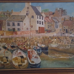 (CreativeWork) Creel Harbour, Scotland UK by gerald isaacs. oil-painting. Shop online at Bluethumb.