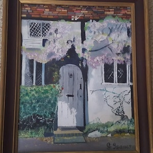 (CreativeWork) Wisteria over old cottage door by gerald isaacs. oil-painting. Shop online at Bluethumb.