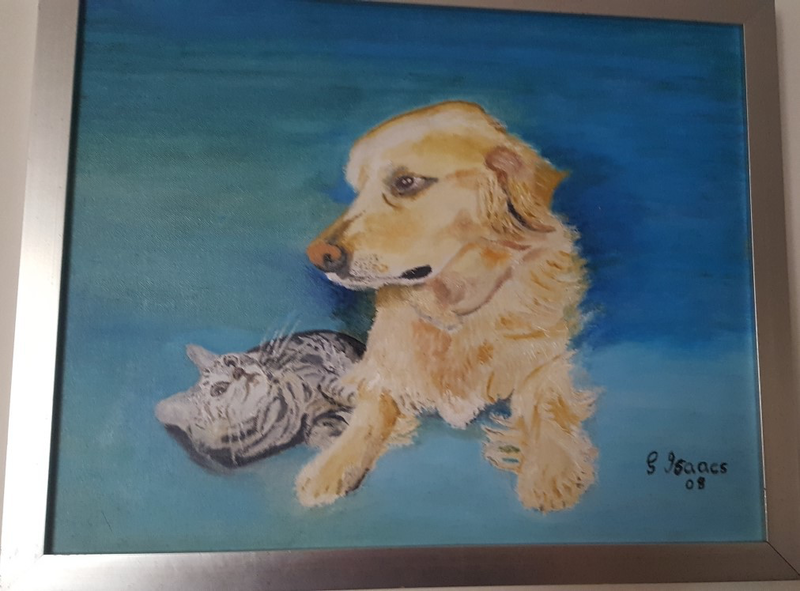 (CreativeWork) My Furry Friends by gerald isaacs. oil-painting. Shop online at Bluethumb.