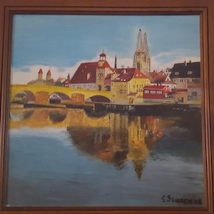 (CreativeWork) Regensburg on the Danube by gerald isaacs. oil-painting. Shop online at Bluethumb.
