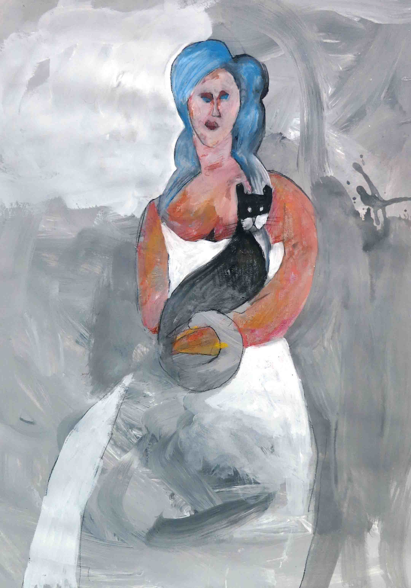 (CreativeWork) Woman holding Tom  by John Graham. Mixed Media. Shop online at Bluethumb.