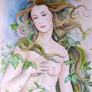 (CreativeWork) Sandro Botticelli's Venus  and Passion Fruit Tree in My Garden by Ikuko Maddox. watercolour. Shop online at Bluethumb.