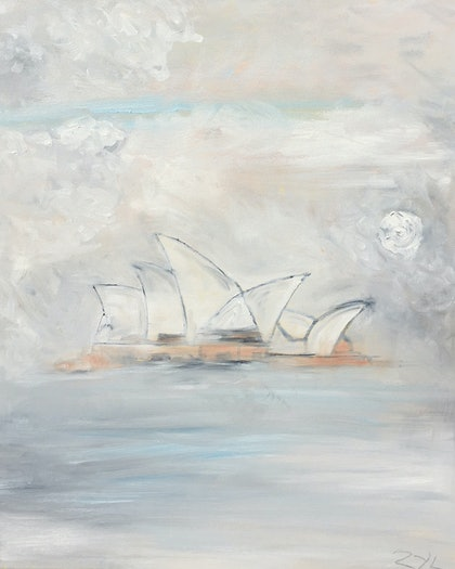 (CreativeWork) Misty Opera House 2 by ZYL ZYLBAT. oil-painting. Shop online at Bluethumb.