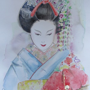 (CreativeWork) Maiko-02 by Ikuko Maddox. watercolour. Shop online at Bluethumb.