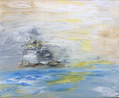 (CreativeWork) Misty Castle by ZYL ZYLBAT. oil-painting. Shop online at Bluethumb.