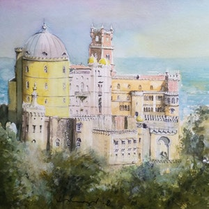 (CreativeWork) the yellow castle by peter smart. watercolour. Shop online at Bluethumb.