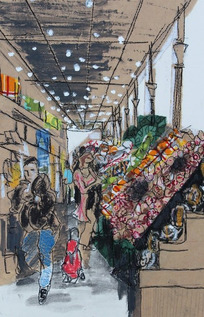 (CreativeWork) South Melbourne Market #1 by Juliet D Collins. mixed-media. Shop online at Bluethumb.