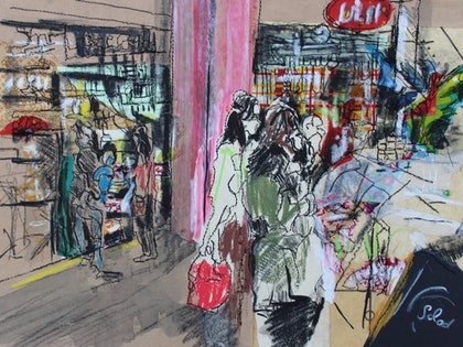 (CreativeWork) South Melbourne Market #2 by Juliet D Collins. mixed-media. Shop online at Bluethumb.